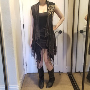 Vocal Skull Fringe Sleeveless Vest